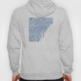 Barcelona Blueprint Watercolor City Map Hoody