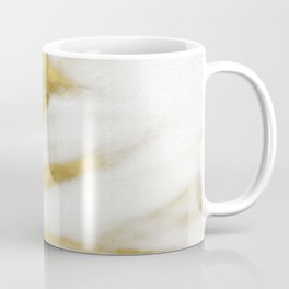 Marble - Gold Marble on White Pattern Coffee Mug