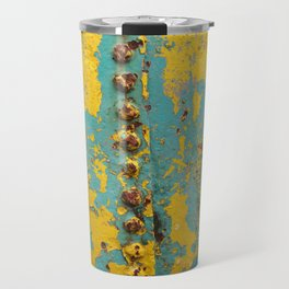 yellow and blue worn paint and rust texture Travel Mug