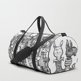 A Crowd of Llamas in Pajamas by dotsofpaint Duffle Bag