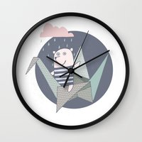 origami Wall Clocks featuring Origami by De Assuncao création