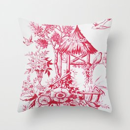 Classic red white Chinoiserie Throw Pillow
