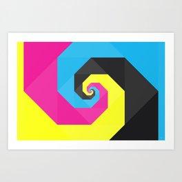 CMYK triangle spiral Art Print