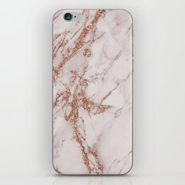 Abstract blush gray rose gold glitter marble iPhone Skin