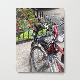 Bikes, Sidewalk, New York City Metal Print
