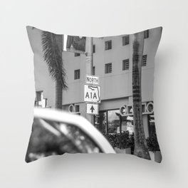 So I continued to A1A, Beachfront Avenue - Miami Throw Pillow