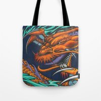 lakers Tote Bags featuring Purple & Gold Sado Dragon by SADOstyle