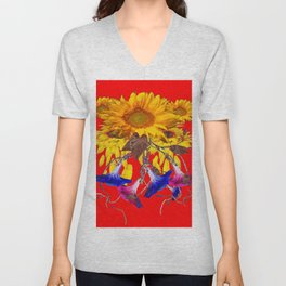 Morning Glories, Sunflowers Red Abstract Unisex V-Neck