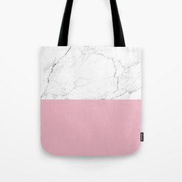 blush pink and white marble color block Tote Bag