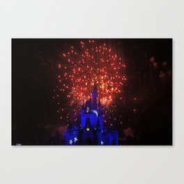 castle in red white and blue Canvas Print