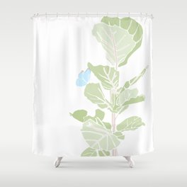 Fig Tree and Blue Butterfly Shower Curtain