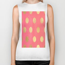 Gold Sunburst Pattern Biker Tank
