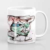 snow leopard Mugs featuring Snow leopard by Caballos of Colour