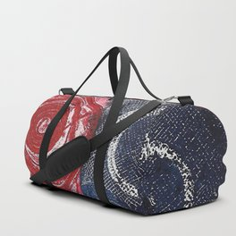 Etching in blue and red Duffle Bag