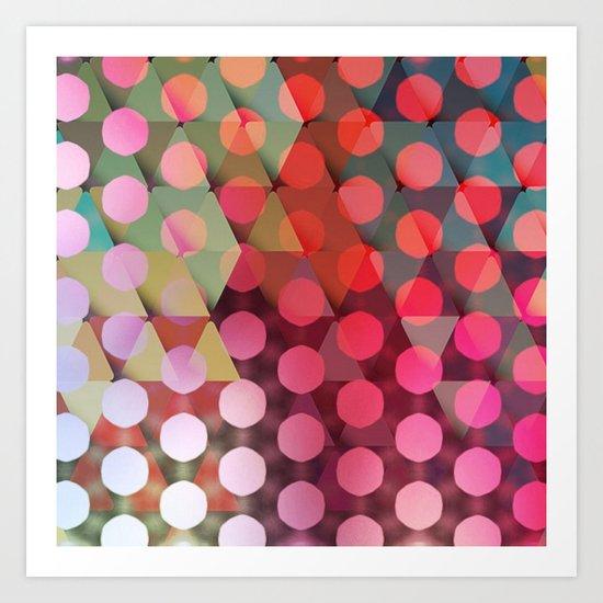 Circles on Triangles Pink Art Print