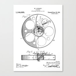 Film Reel Patent - Classic Cinema Art - Black And White Canvas Print