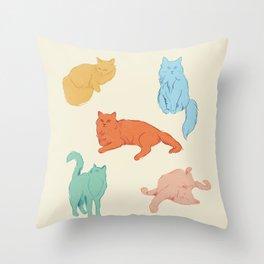 Cattitude - Cat illustration print Throw Pillow