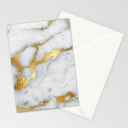 White and Gray Marble and Gold Metal foil Glitter Effect Stationery Cards