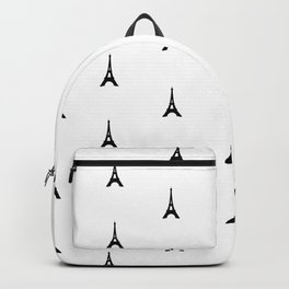 Black and White Eiffel Tower Print Backpack