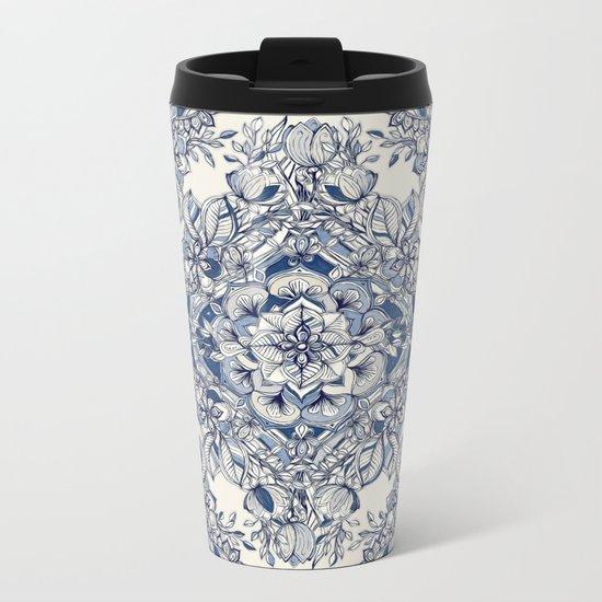 Floral Diamond Doodle in Dark Blue and Cream Metal Travel Mug