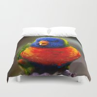 parrot Duvet Covers featuring Parrot by Veronika