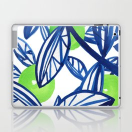 Blue and lime green abstract apple tree Laptop & iPad Skin