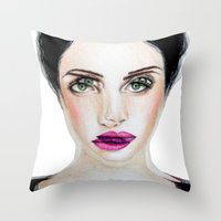 glitch Throw Pillows featuring Glitch by Hiba Khan Art