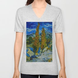 Vincent Van Gogh Beautiful Night Oil Painting Poplars at Saint-Rémy, October 1889 Landscape Unisex V-Neck