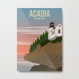 Acadia National Park Travel Poster Metal Print