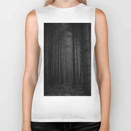 The Dense & Foggy Forest (Black and White) Biker Tank