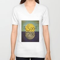 sun and moon V-neck T-shirts featuring ambigram sun and moon  by gazonula