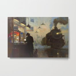 Midnight, The Night Train railway station cityscape - landscape painting by Lionel Walden Metal Print
