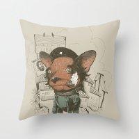 che Throw Pillows featuring Che huahua by Clinton Jacobs
