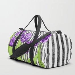 Striped Tulips Duffle Bag