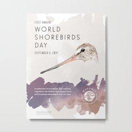 World Shorebird Day Poster-Hudsonian Godwit Metal Print