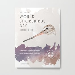 World Shorebird Day Poster-Hudsonian Godwit Metal Print
