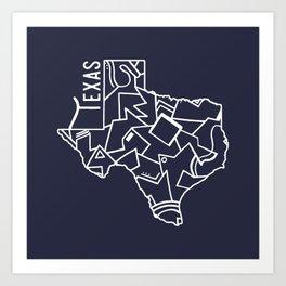 Texas Strong (Dark Blue) Art Print