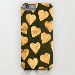 Gold Shimmering Hearts Pattern on Black Silk iPhone Case