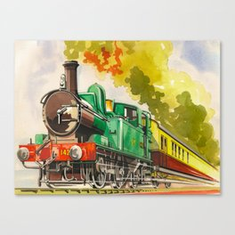 Vintage Mid Century Travel Poster British Railways Steam Engine Watercolor Illustration Canvas Print