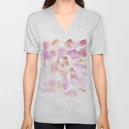 180713 Red Pink Orange Art Abstract Watercolour 15| Watercolor Brush Strokes Unisex V-Neck