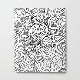 Heart Zendoodle Artwork Metal Print