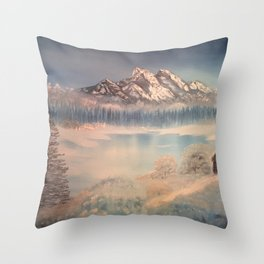 Icy tranquility - Cabin by the pond Throw Pillow