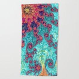 Rainbow Fractal Beach Towel