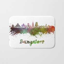 Bangalore skyline in watercolor Bath Mat