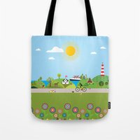 denmark Tote Bags featuring Landscape of Denmark by Design4u Studio