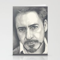 robert downey jr Stationery Cards featuring Robert Downey Jr by Heather Andrewski