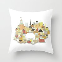 stockholm Throw Pillows featuring Stockholm by eoillustrations