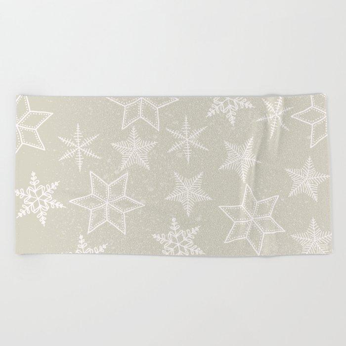 Snowflakes on beige background Beach Towel