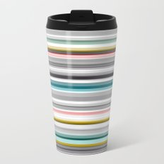 grey and colored stripes Metal Travel Mug