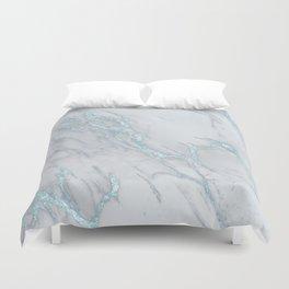 Marble Love Electric Blue Metallic Duvet Cover